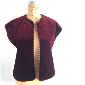 70s Vintage Boho Vest, velour with braid detail